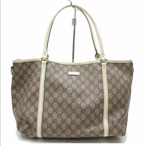Auth Gucci GG Canvas Large Shoulder Tote Bag